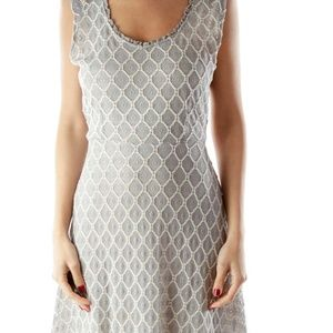 Anthropologie Mystree Gray/white lace dress